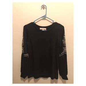Loft black long sleeve shirt with embroidery